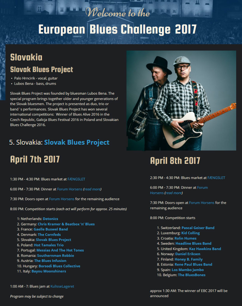 Ľuboš Beňa a Slovak Blues Project na európslek bluesovej súťaži v Dánku