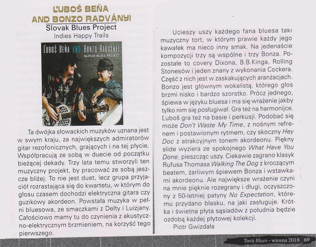 Recenzia CD Beňa & Radványi: Slovak Blues Project v poľskom časopise Twój Blues