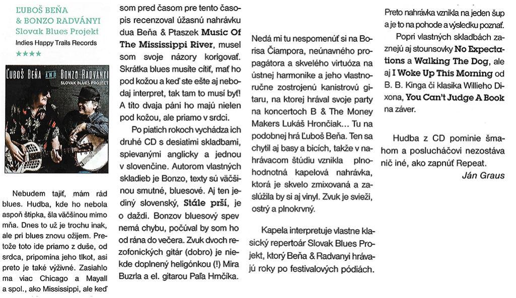 Ľuboš Beňa & Bonzo Radványi v hudobných časopisoch