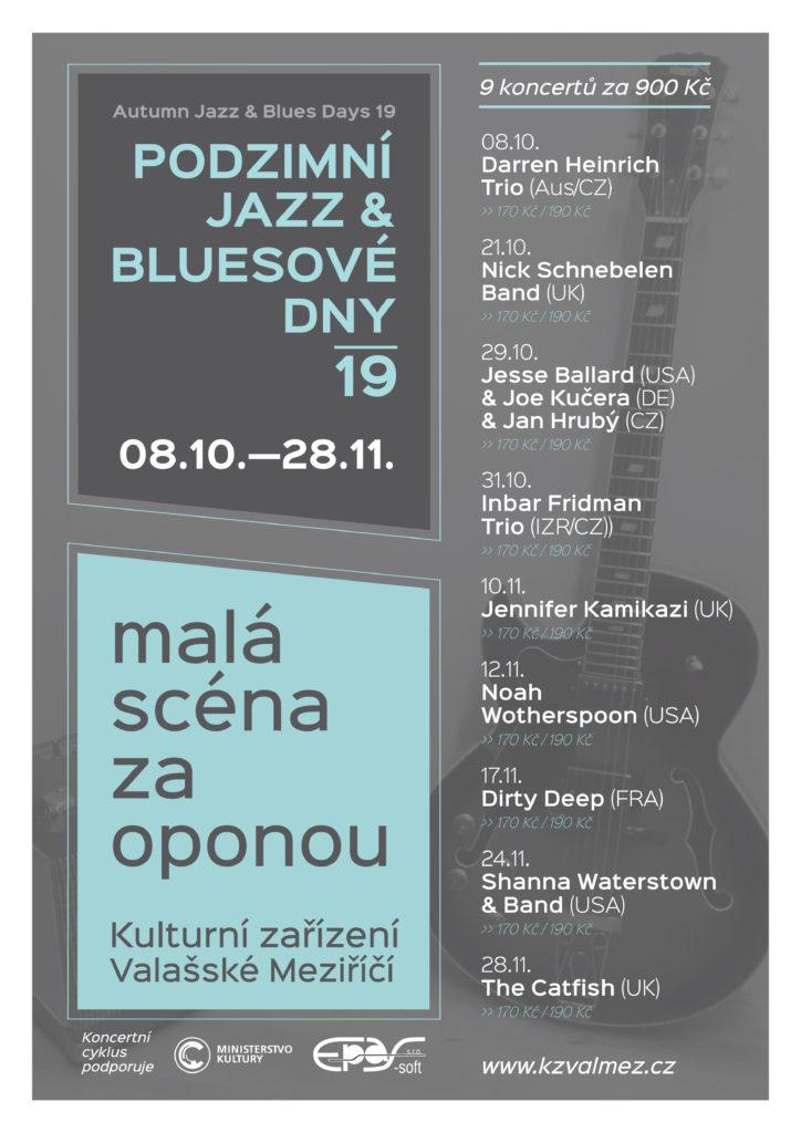 Podzimní jazz & bluesové dny 2018 - Autumn jazz & blues days 2019 - Valašské Meziříčí